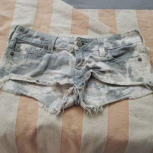 True religion tie die denim shorts